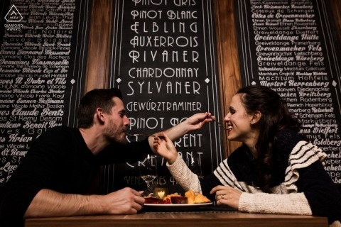 Luxembourg engagement portraits with a couple at the diner