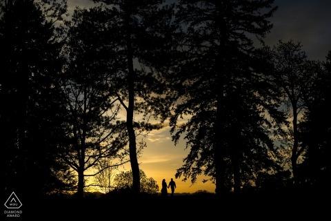 Boulder, CO Engagement Photographer. Gesilhouetteerd paar die bij zonsondergang door lange bomen lopen.