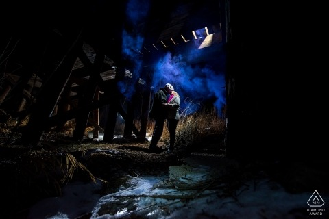 Colorado Engagement Photographer for lit portraits at night.