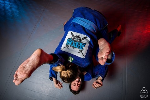 Pre-wedding photo session of couple exercising Jiu Jitsu | Boulder, CO engagement photographer
