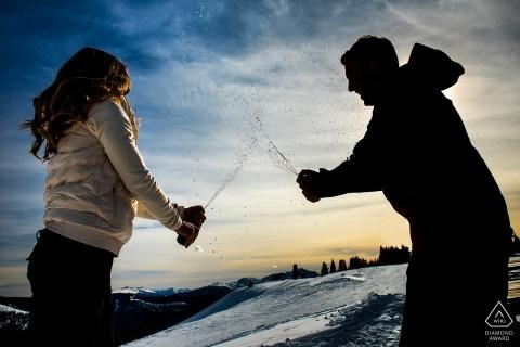 Winterportret sessie door een Boulder, CO Engagement Photographer