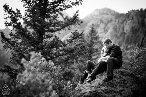 Lake Tahoe pictures of a couple in the woods by a top California wedding engagement photographer