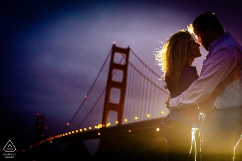A San Francisco couple during their Golden Gate pre-wedding portrait session by a CA photographer