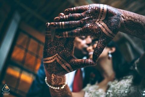 Bronx destination wedding photo through henna hands   New York  engagement session photography
