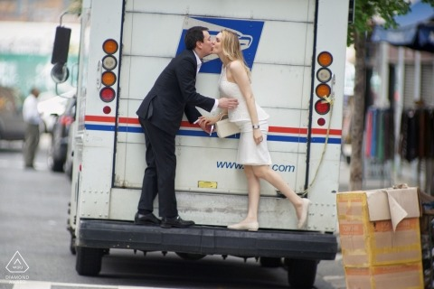 Bronx, New York City Wedding Engagement Shoot with US Mail Truck