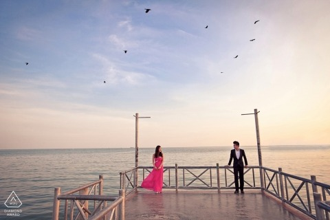 Malacca Engagement Photographer - couple portrait on the peer at sunset