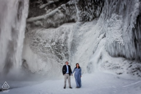 A Maryland couple poses during their pre-wedding portrait session by a Baltimore photographer