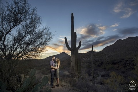 Phoenix Arizona engagement Photo shoot in the desert at sunset with huge cacti
