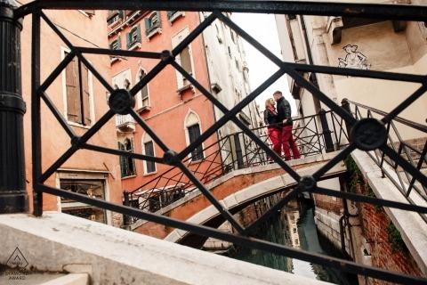 Czech Republic Engagement portraits. Pre-wedding shoot on bridges over looking Canal ways.