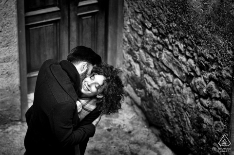 Lazio Engagement Photographer. High angle, high contrast, high love Black and white portraits.