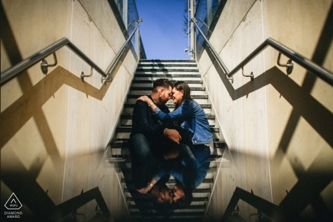 Southbank wedding engagement photography of couple on stairs