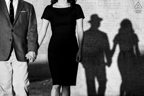 Black and white engagement photography using shadows