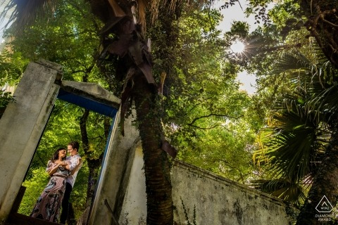Engagement session in Brazil historic ruins in the Forest