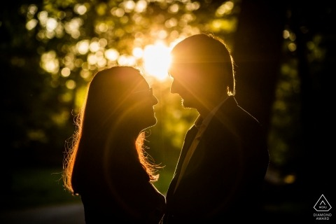 This Czech republic couple poses for a sunset engagement portrait