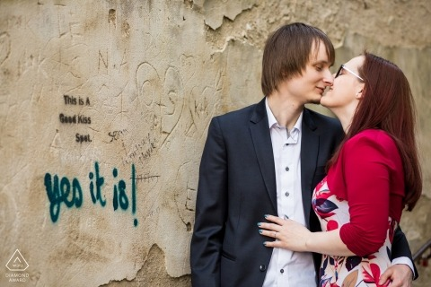 Prague engagement photography | is it true you are getting married? Yes it is! Graffiti portrait in the city