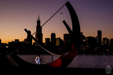 Chicago engagement portrait near the water at night