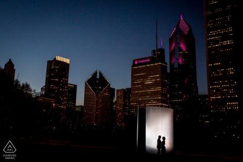 magnetmod backlit silhouette portraits | Chicago engagement photographer