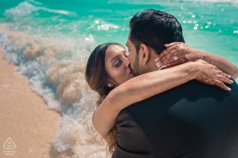 Maharashtra Engagement Photography | Beach Portraits with young couple in the waves
