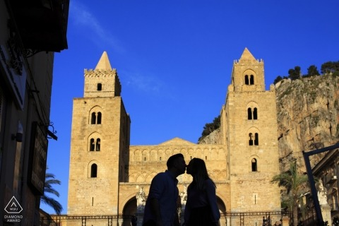 Sicily silhouette portrait of a profiled couple during their engagement session