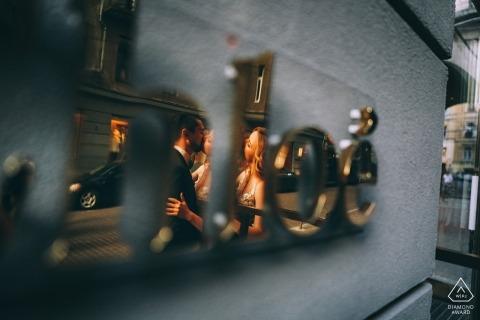 New York Engagement Photographer | PreWedding reflection portrait in CHLOE signage