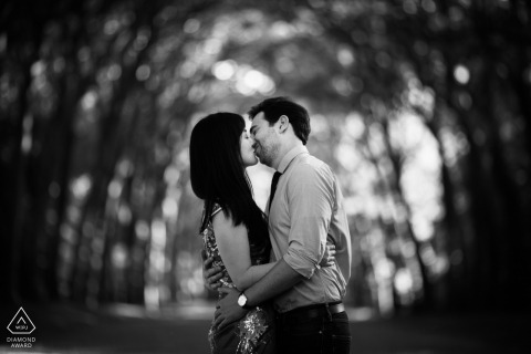 Florida Engagement photography of couple in black and white amongst trees