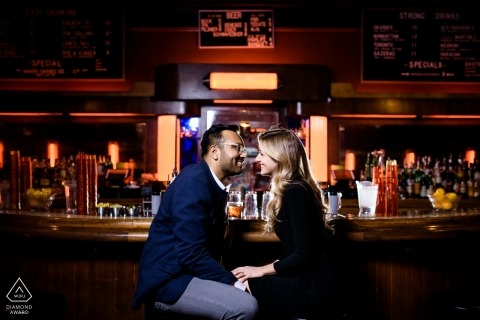 Chicago bar engagement portrait - pre-wedding photography for Illinois couples