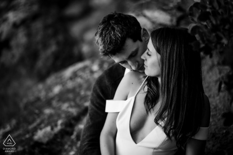 Black-and-white intimate Lake Tahoe couple portraits
