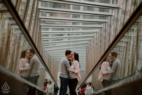 Gipuzkoa pre-wedding photography | Biscay escalator ride for an engagement shoot with reflections