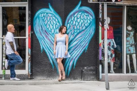 Miami engagement portraits – a Florida graffiti angel and her fiancé