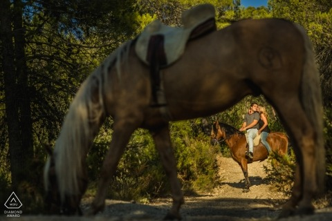 Alicante Engagement Photographer | Prewedding photos on horseback with a couple