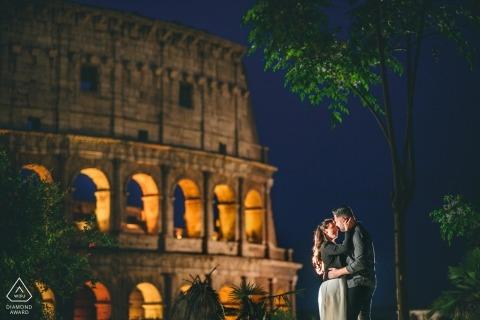 East Midlands Pre-Wedding Photographer | Dusk portait session with a lit couple
