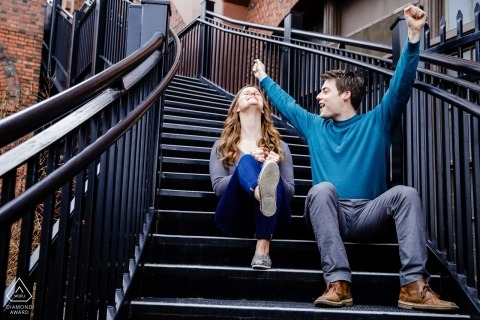 Idaho Couple is jubilant during their engagement portrait on the stairs