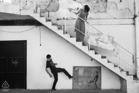 Football fun during this Rio de Janeiro pre-wedding portrait on the stairs