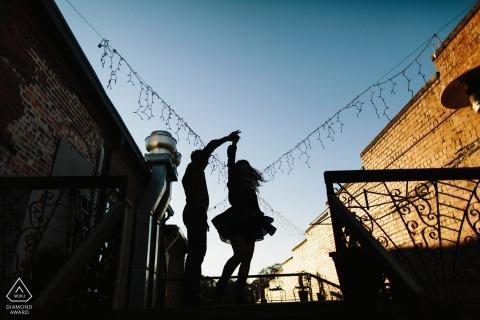 California Engagement Photographer | Sacramento pre wedding silhouette dancing portrait