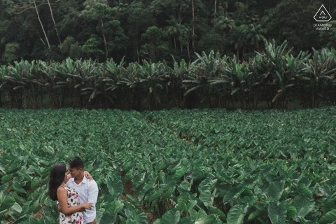 Tropical lush and green engagement portrait from the Rio de Janeiro