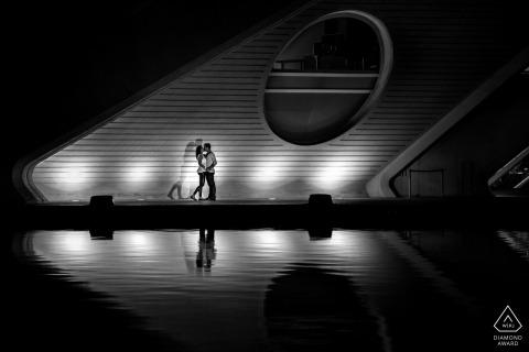 Stunning nighttime architecture set off this Baden-Wurttemberg engagement portrait
