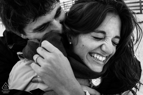 Spain black-and-white engagement portraits filled with fun and laughter