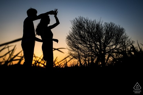 Twirling and dancing together near sunset Time in Spain