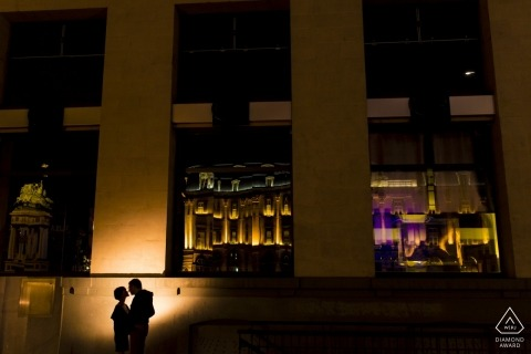 France engagement photography at night with city architecture