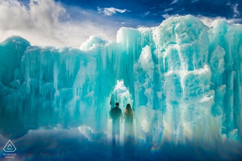 Ice ice baby - a giant wall of ice dwarfs this couple in their pre-wedding portrait