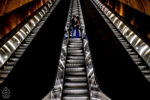 District of Columbia escalator ride during engagement portrait session