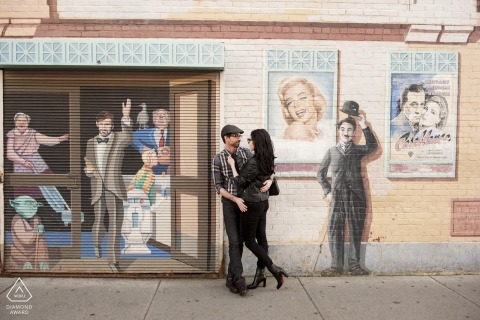 Charlie Chaplin Photo bombs this Boston engagement portrait on the streets