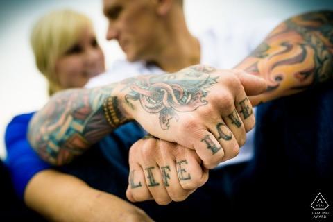 Tattoo engagement photography session | Lake Villa Illinois wedding photographer