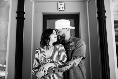 Intimate engagement portrait in Wicker Park Chicago