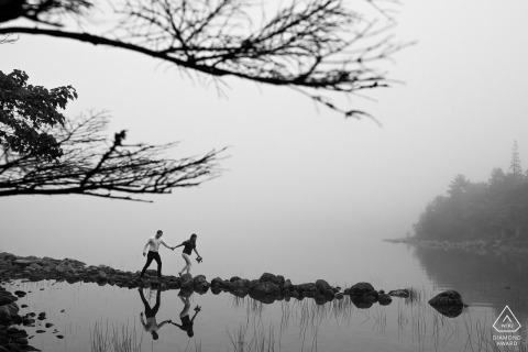 Maine USA provides many opportunities for waterside, foggy engagement portraits such as this