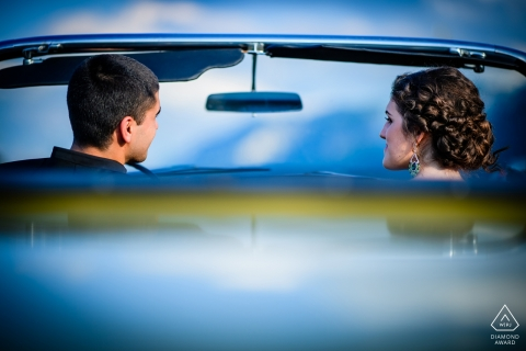 convertible car engagement photo shoot session in Ruse | Bulgaria wedding photographers