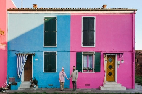Czech Republic in pink and blue - a couple hold hands on the opposite sides of this colorful duplex