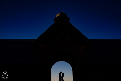 Stark and bold, this Vermont couple is framed and silhouetted in an Archway for their engagement portrait