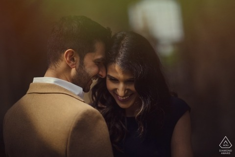A very tight engagement portrait of this shy engaged couple