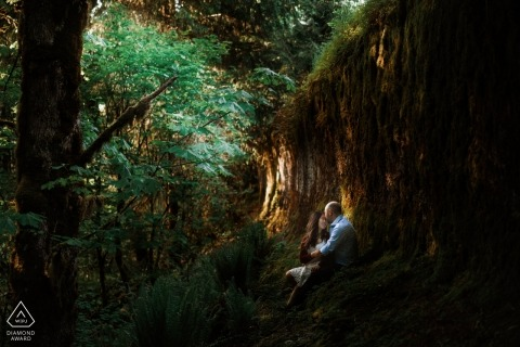 Seattle forest engagement session with great natural light